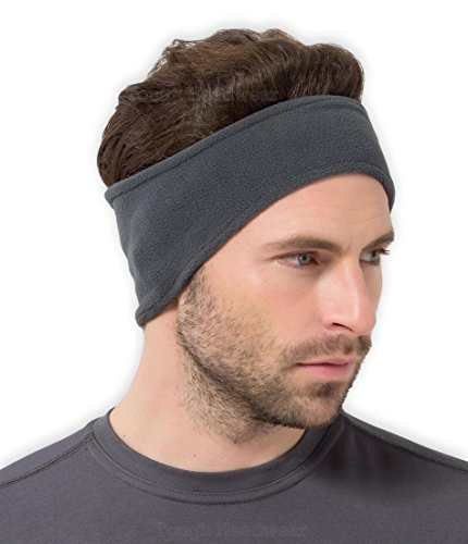 Fleece Headband Ear Warmer - Tough Headwear Fleece Ear Warmers Headband/Ear Muffs for Men & Women - Stay Warm & Cozy with Our Thermal Polar Fleece & Performance Stretch. Perfect for Sports & Daily Wear (Gray)