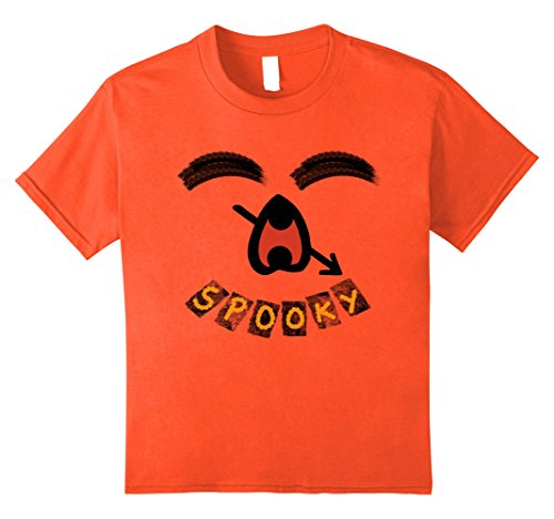 Kids Spooky Halloween Scary Ghost Funny Emoji Smiley Face T-Shirt 12 Orange