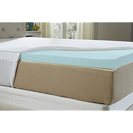 Natures Sleep AirCool IQ Queen Size 2 5 Inch Thick 3lb Density Gel Memory Foam Mattress Topper With Microfiber Fitted Cover And 18 Inch Skirt