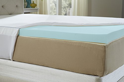 Natures Sleep AirCool IQ Full Size 2.5 Inch Thick 3lb Density Gel Memory Foam Mattress Topper with Microfiber Fitted Cover and 18 Inch Skirt by Nature's Sleep