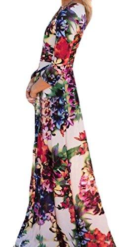 Dress 4 Maxi Coolred 3 Sleeve Print s Floral Women Waist Empire Pattern1 Long HTqXPqZ