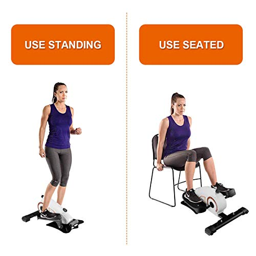 Goplus Under Desk Elliptical Stepper, Resistance Adjustable, More Stable with Heavier Weight, 2 in1 Design, Portable Mini Magnetic Step Machine, Compact Strider (Best Shoes For Elliptical Workout)