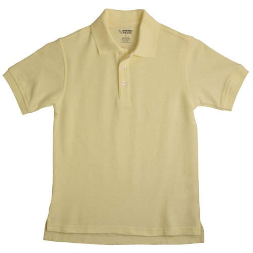 (School Uniform Unisex Short Sleeve Pique Knit Shirt By French Toast, Yellow)