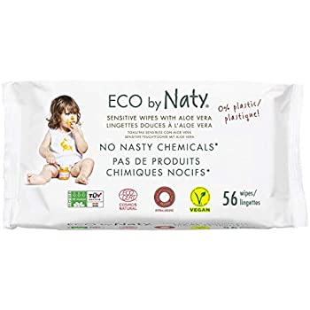 Eco by Naty Thick Baby Wipes with Aloe Vera for Sensitive Skin, Hypoallergenic, Biodegradable and Compostable, 12 Packs of 56 (672 Wipes)