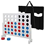 LEMY Giant 4 in a Row Game Set Wooden Four Connect in a Row Game 3ft Width x 2.25ft Tall Jumbo 4 to Score Board Game w/ Carrying Case