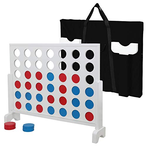 LEMY Giant 4 in a Row Game Set Wooden Four Connect in a Row Game 3ft Width x 2.25ft Tall Jumbo 4 to Score Board Game w/ Carrying Case by LEMY