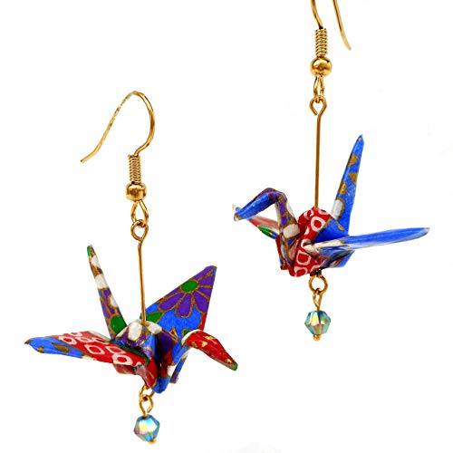 Artsy Fun Spring Summer Gifts for Teen Girls Women Her Color Splash Origami Crane Earrings Handmade with Recycled Wallpaper