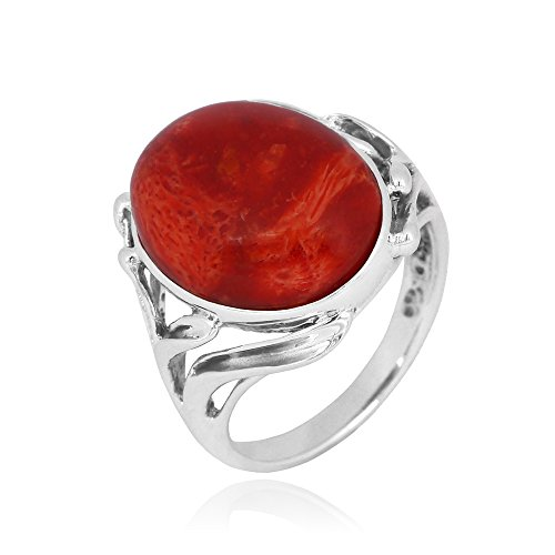 Caratera Gemstone Jewelry Oval Shape Natural Sponge coral 925 Sterling Silver (Sterling Silver Sponge Coral)