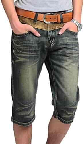 1b2cbc6eb2 Oberora-Men Retro Mid Waist Straight Leg Slim Denim Shorts Jeans Pants