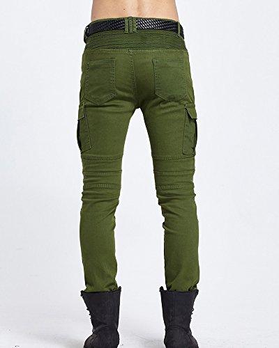Straight Fit Verde Pantaloni In Denim Jeans Biker Slim Uomo Cargo ZHHqR8