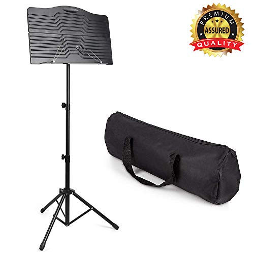 Book Stand Sheet Professional Folding Music Stand for Sheet Music Portable and Light weight with Carrying Bag, Suitable for Instrumental Performance, Height & Angle Adjustable, by Vangoa