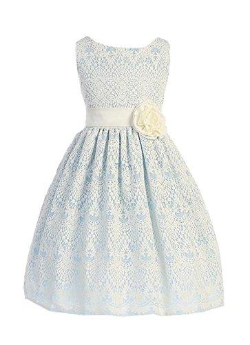 Sweet Kids Little Girls Sweet Vintage Lace Flower Girl Dress 2 Light Blue SK 437