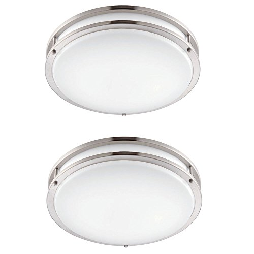 Designers Fountain EV1412LED-BND-2 12 In. Brushed Nickel/White Led Ceiling Low-Profile Flushmount (2 Pack) by Designers Fountain