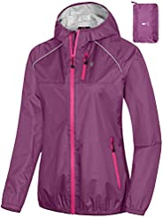 Little Donkey Andy Women's Rain Cycling Bike Jacket with Hood, Windproof and Waterproof, Ultralight Pack