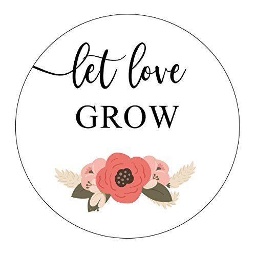 Let Love Grow Stickers, Navy Blue and Blush Wedding, Let Love Grow Favor Stickers, Labels, Seed Favors, Love Grow, Favor Stickers, Flower, Floral, Garden Wedding Favor ()