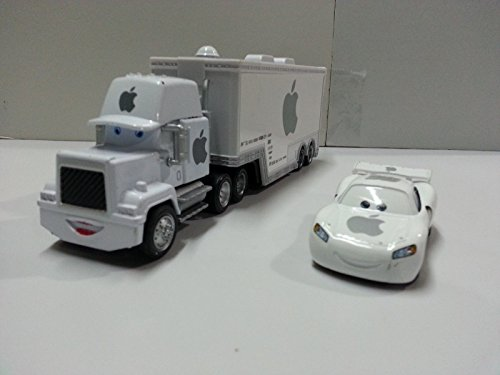 disney-pixar-cars-white-apple-mack-racers-truck-jobs-toy-car-155-loose-new