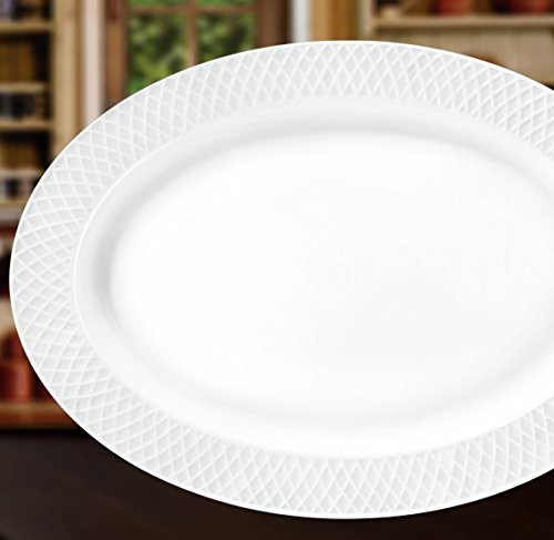 "- Wilmax WL-880103, 14"" x 10"" Julia Collection White Porcelain Oval Platter, Classic European Bone China Display Serving Plate, Gift Box"