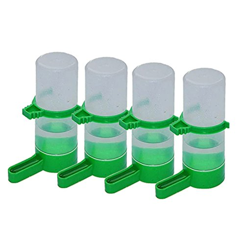 Patgoal 4 Pcs Pet Bird Plastic Drinker Feeder Waterer Clip for Parrots Budgie Cockatiel Lovebirds (L)