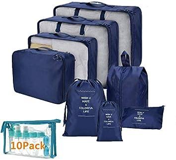 Koffer Organizer Set 8-teilig kleidertaschen f/ür Kleidung Kosmetik Schuhbeutel Kabel Aufbewahrungstasche Reisen Organizer Tasche Blau