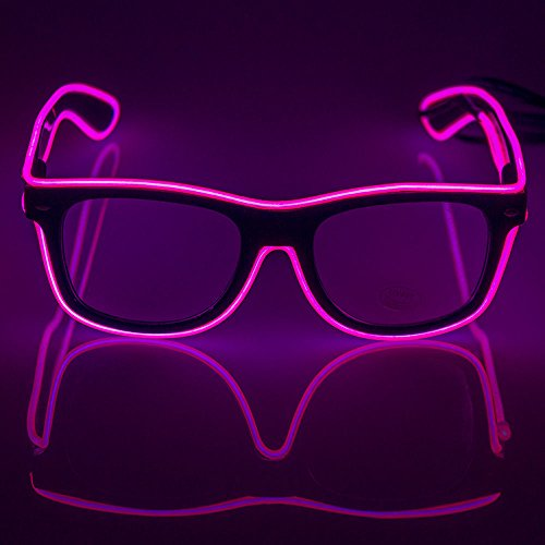 Fronnor Light Up El Wire Glasses Rave Glow Glasses With DC-3V Sound Active Driver for Costume Party Festival,Party - Glasses Wire