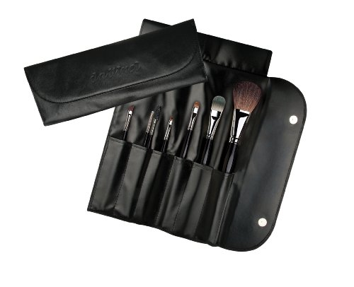(da Vinci Cosmetics Series 48303 Professional Travel Brush Set with 7 Brushes, Napa Italian Leather Case, 5.64 Ounce, 7 Brushes)