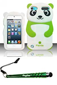 FoxyCase(TM) FREE stylus AND For iPod Touch 5 - 3D Panda Bear Silicon Case Neon Green SCPB3D Desire Silicone Skin Phone Protector cas couverture