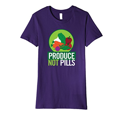 Womens Produce Not Pills Vegan Vegetarian T-Shirt Large P...
