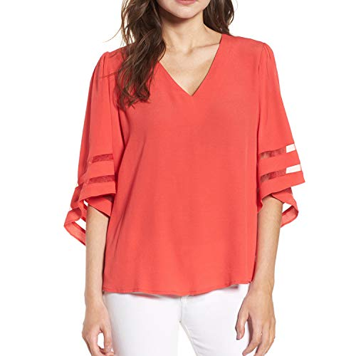 Shy Velvet Women's V Neck 3/4 Bell Sleeve Chiffon Blouse Mesh Panel Loose Top Shirts - Shirt Big Velvet