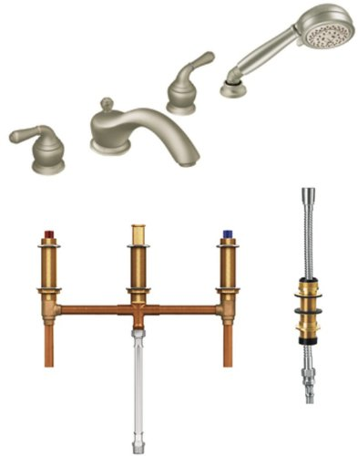 Moen T953BN-9796 Monticello Two-Handle Low Arc Roman Tub Faucet and Hand Shower with Valve, Brushed Nickel ()