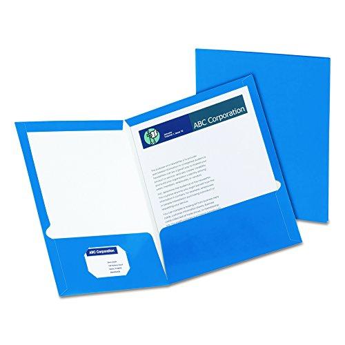 Oxford Showfolio Laminated Twin Pocket Folders, Letter Size, Blue, 25 per Box (51701)
