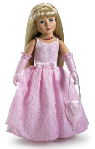 Romance Sandal - Pink Romance Doll Dress, Silver Sandals, Gloves, Bag and Jewels for 18 inch Slim Carpatina or AGFAT dolls