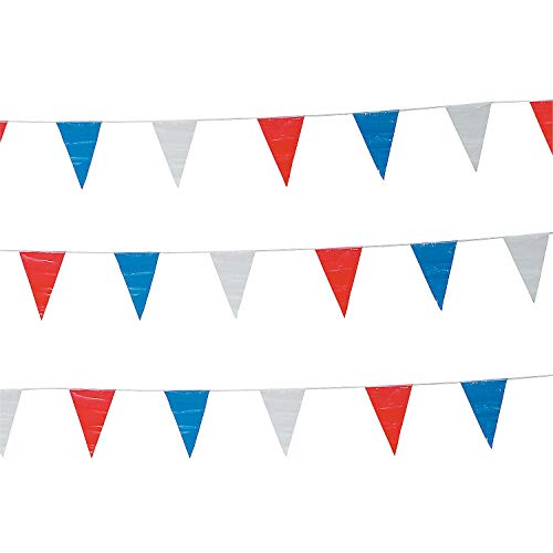 Fun Express - Red/white/blue Pennant Banner (100ft) for Fourth of July - Party Decor - Hanging Decor - Pennants - Fourth of July - 1 ()