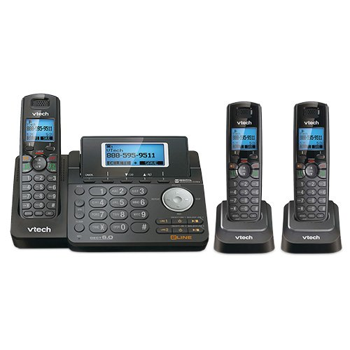 - VTech DS6151-11 DECT 6.0 2-Line Expandable Cordless Phone + (2) DS6101-11 Accessory Handset, Black