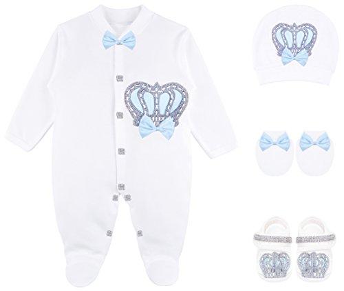 Lilax Baby Boy Newborn Crown Jewels Layette 4 Piece Gift Set 0-3...