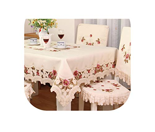 Tablecloth Elegant Dining Table Cloth Thicken Chair Cover Cushion Backrest Round Table Cover Sale,110Cm X 110Cm