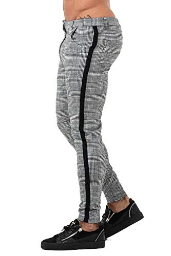 Men Chinos Slim Fit Plaid Twill Pants for Men Skinny Stretch Slacks Grey 28 ()