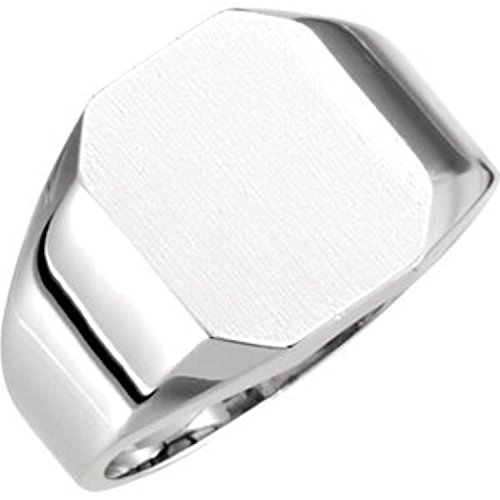 14K White Gold Octagon Signet Ring, Size: 6 (Gold Octagon Ring White Signet)