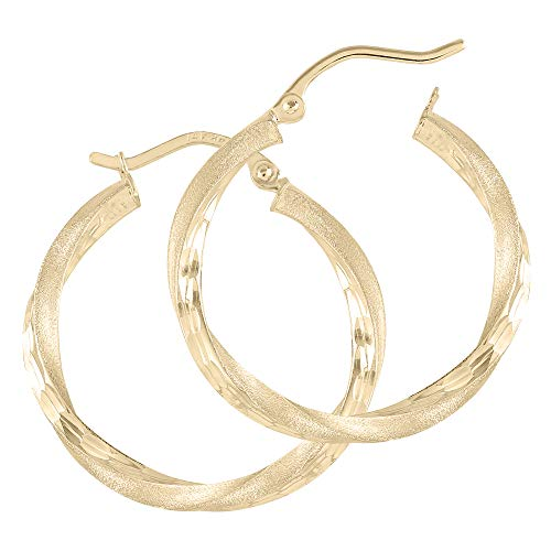 14k Gold Hoop for Womens - Real Jewelry Small & Large Tube Yellow White Rose Hoops - Cute Aretes De Mujer Oro 14 K Medium and Long (14k Gold 2.5mm Square Twist Tube Hoop Earrings, 25)