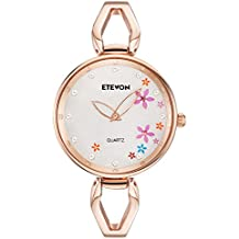 ETEVON Women's Quartz Rose Gold Bracelet Watch with Colorful Flowers and Crystal Water Resistant, Fashion Casual Dress Wrist Watches for Women Ladies