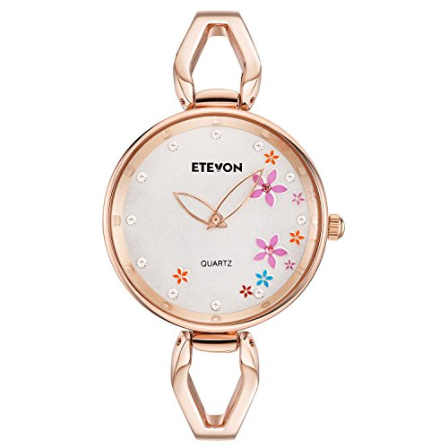 ETEVON Womens Quartz Rose Gold Bracelet Watch with Colorful Flowers and Crystal Water Resistant, Fashion Casual Dress Wrist Watches for Women Ladies