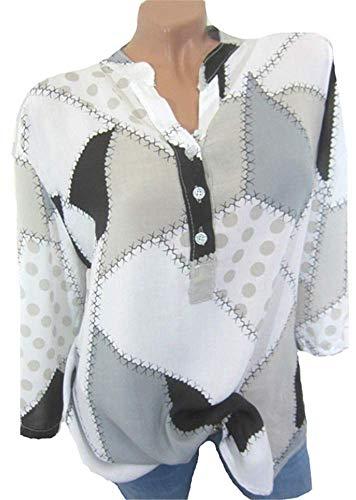 Tops Mode Couleur Elgante Chemisier Shirt Blanc Epissures Femme YOGLY Longues Blouse Chic Irrgulier Col Casual Manches Boutonn HZ7E0qwx
