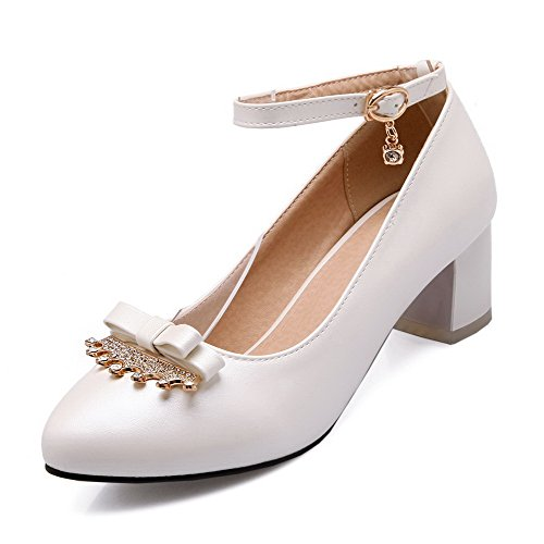 VogueZone009 Women's Solid Kitten Heels Buckle Pointed Closed Toe Pumps-Shoes White UMBiiMcM
