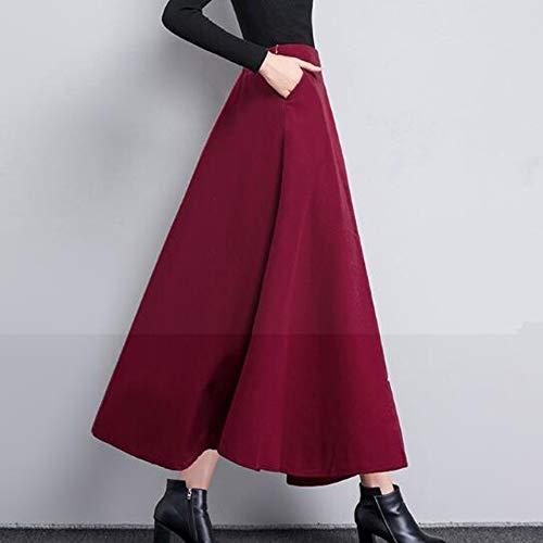A Haute Jupe Jupe Taille Patineuse Red lastique Plisse Taille Laine Longue Femmes Ligne en 1WnAAw
