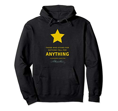 Star Hamilton (Unisex Alexander Hamilton T-Shirt Quote Those Who Stand for Nothing Medium Black)