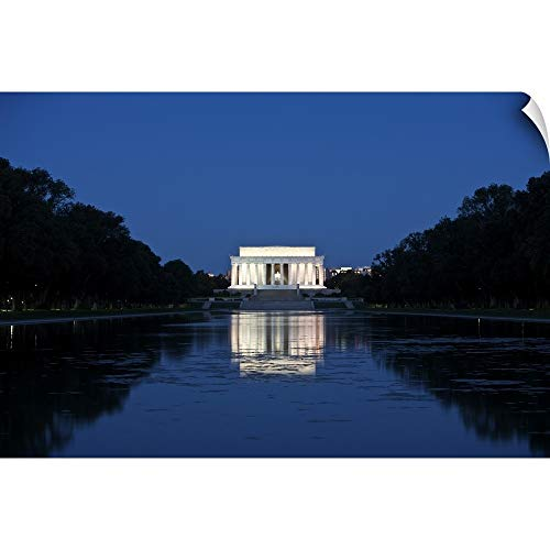 CANVAS ON DEMAND Terry Moore Wall Peel Wall Art Print Entitled Lincoln Memorial Reflection in Pool, Washinton D.C, USA 18