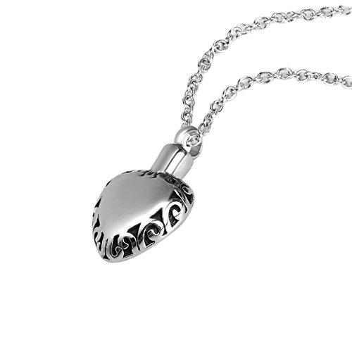 ZARABE Cremation Jewelry Retro Pattern Glossy Heart Crema...