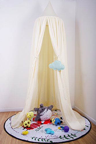 "7'10"" Bed Canopy for Kids Reading Play Tents 100% Fine Cotton Canopy (Thick Cream Yellow)"