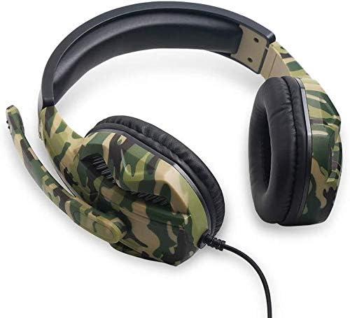 RENKUNDE ゲーミングヘッドセットヘッドセット有線ヘッドセットコンピュータヘッドセットデュアルオーディオ音質のクリアは2つの色が選択でき聴覚障害軽減調整可能 ゲーミングヘッドセット (Color : Camouflage)