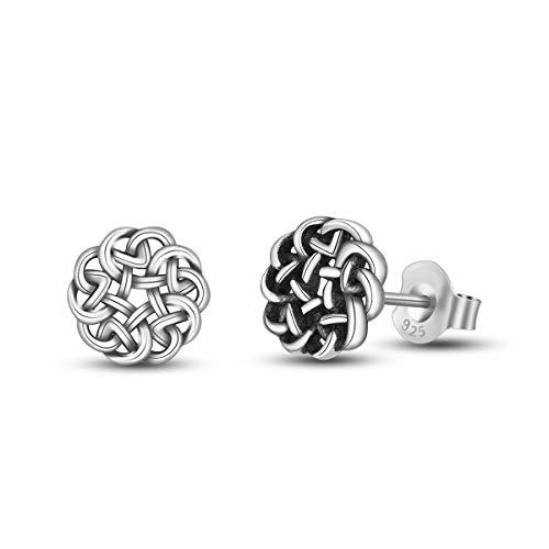 INFUSEU 925 Sterling Silver Irish Celtic Eternity Flower Knot Stud Earrings for Women
