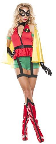 Starline Women's Sidekick Girl Sexy Cosplay Costume with Mask, Red/Yellow/Green, Large